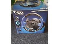 T150 thrustmaster steering wheel and peddals compatable with ps3 or ps4.