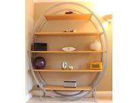Modern Bookcase / Display Shelf. Metal Frame with Maple Shelves