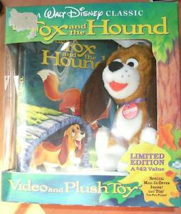 "WALT DISNEY CLASSIC VHS: FOX AND THE HOUND & 7"" HOUND PLUSH TOY"