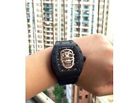 MENS RICHARD MILLE SKULL BLACK & GOLD NEW WITH BOX PAPERS TAGS BAGS