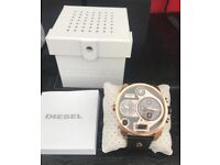 Mens chronographic diesel watch , big daddy , rose gold