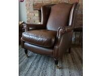 Laura Ashley Southwold leather armchair brown wingback chair with tags