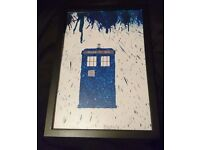 Doctor Who Tardis Crayon & Glitter Art Picture in Black Frame
