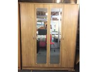 **100% PRICE MATCH!**BRAND NEW Omega 4 Door Wardrobe With Mirrors & Drawer-Same/Next Day Delivery