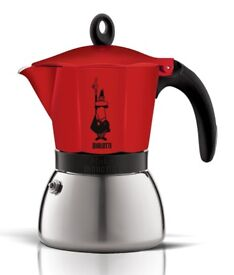 Moka Induction Italian Stove-Top Espresso Coffee Maker 6 Cups Coffee Pot Red