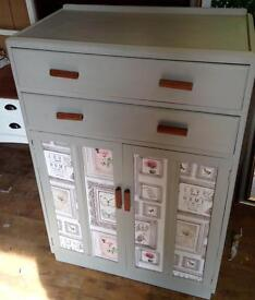 Unique upcycled tallboy/chest of drawers