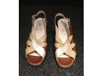 Hotter tan, beige and cream leather sandals size 6.5 UK