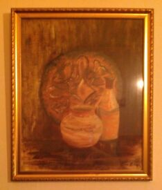 'Very Brown' Painting In Gilt Frame by unknown artist (40cm x 50cm)