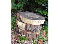 Very large rustic wooden garden stepping stones ornament table