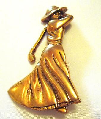 Vintage Fort Lady Golfer Pin Brooch Period Dress Gold Tone 2 3/4