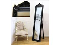 Carved Louise style black large leaner mirror