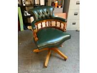 Green leather Chesterfield captains chair UK DELIVERY AVAILABLE