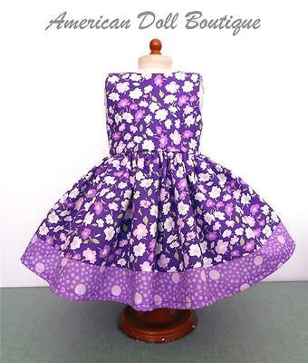 "Fits 18"" Doll & American Girl Doll Clothes - Handmade Purple Flower Print Dress"