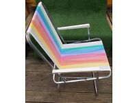 Retro folding garden camping picnic deck chair rainbow colours