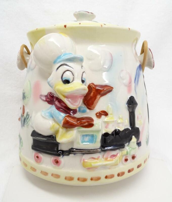 Rare Vtg Japan Donald Duck, Chip n Dale Biscuit Jar Cookie Jar Japan