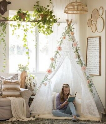 6' Giant Lace Girls Teepee Tent Kids Indoor Outdoor Wedding Party Garden Decor - Girl Teepee