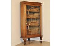 Antique Edwardian Carved Mahogany Glazed Corner Bookcase Cabinet Ball & Claw