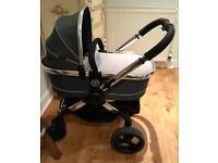 Icandy Peach 3 Truffle Grey Carrycot & Stroller Pram Seat