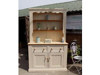Solid Chunky Pine Farmhouse Country Style Large Painted Shabby Chic Cream Welsh Dresser
