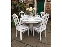 Vintage Shabby Chic Round Dining Table & 4 Chairs ~ Grey & White