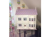 Wooden Dolls House with Furniture - like new