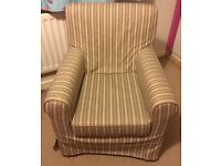 Jennylund ikea Armchair with cream, beige and navy stripe slipcover