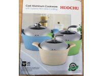 Brand new Huochu aluminum cookware with superior non stick coating