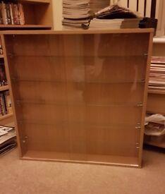 Display Cabinet, 5 adjustable glass shelves, glass sliding doors.