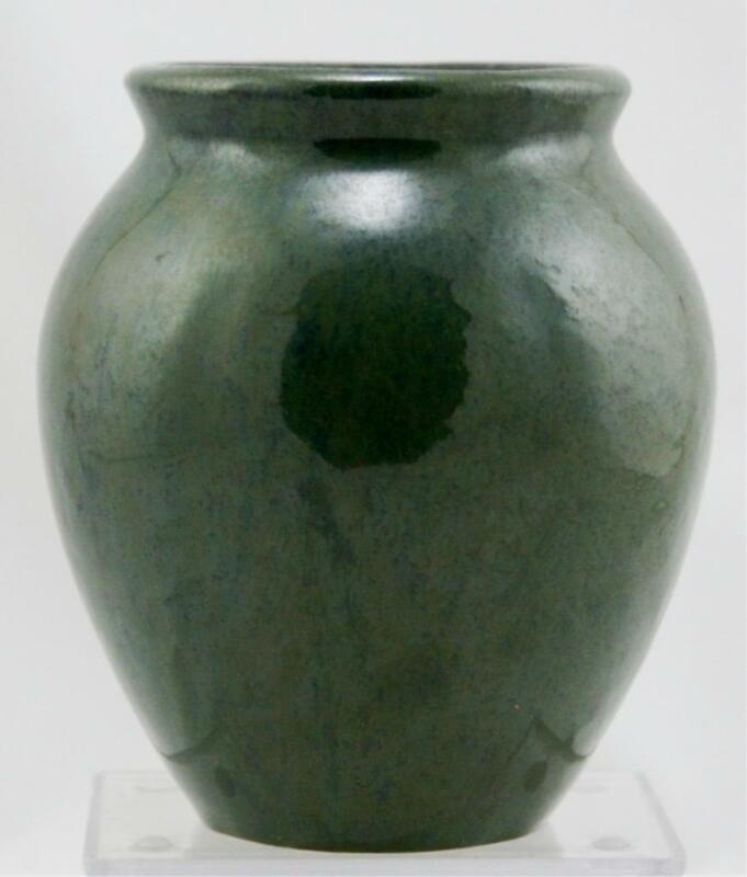 "FULPER 5.25"" BALL VASE IN STORMY GREEN/BLUE FLAMBE GLAZES c1917-1920 MINT F433"