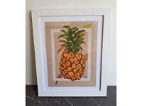 Framed original artwork, 9 in x 12 in, funky pineapple in coloured pencil