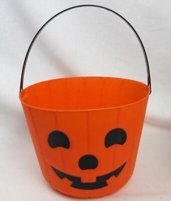 "Trick Treat Bucket Pumpkin Jack O Lantern Face Halloween Handle Candy Bowl 6"""