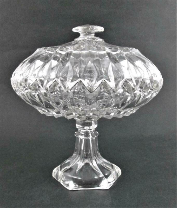 Antique COVERED COMPOTE - Boston & Sandwich Flint Glass - PRESSED PRISM sawtooth