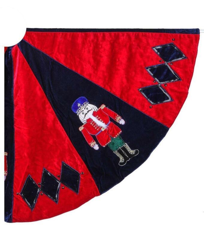 """Red Black Harlequin Nutcracker Ballet Soldier 64"""" Christmas Tree Skirt"""