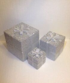 Can Post Christmas Present Decorations - ideal under your tree or next to fireplace Silver White