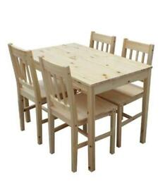 Pine Wood Dining Table & 4 Chairs