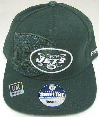 NFL New York Jets Green Structured Sideline Flat Bill Fitted Hat By Reebok, (Green Sideline Flat)