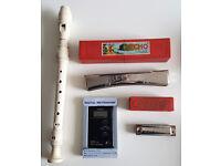 Vintage Harmonicas M.Hohner + Flute Yamaha + Digital Metronome Seiko