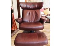 Stressless Jazz leather recliner and foot stool