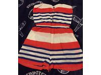 Lovely striped blue white & orange play suit size 10 / 12