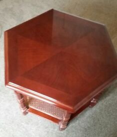 Beautiful mahogany polished hexagonal side / lamp table £50