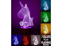 Unicorn 3D Optical Illusion Night Light withTouch Control, LED Table Desk Lamp with 7 Colour