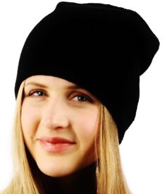 Ladies Black Soft Stretchy 2 Ply Slouchy Long Beanie.