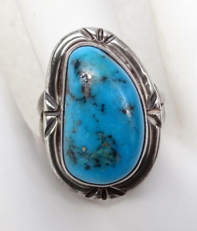 Vtg Old Pawn Sterling Silver Navajo Sleeping Beauty Turquoise Ring SZ 7