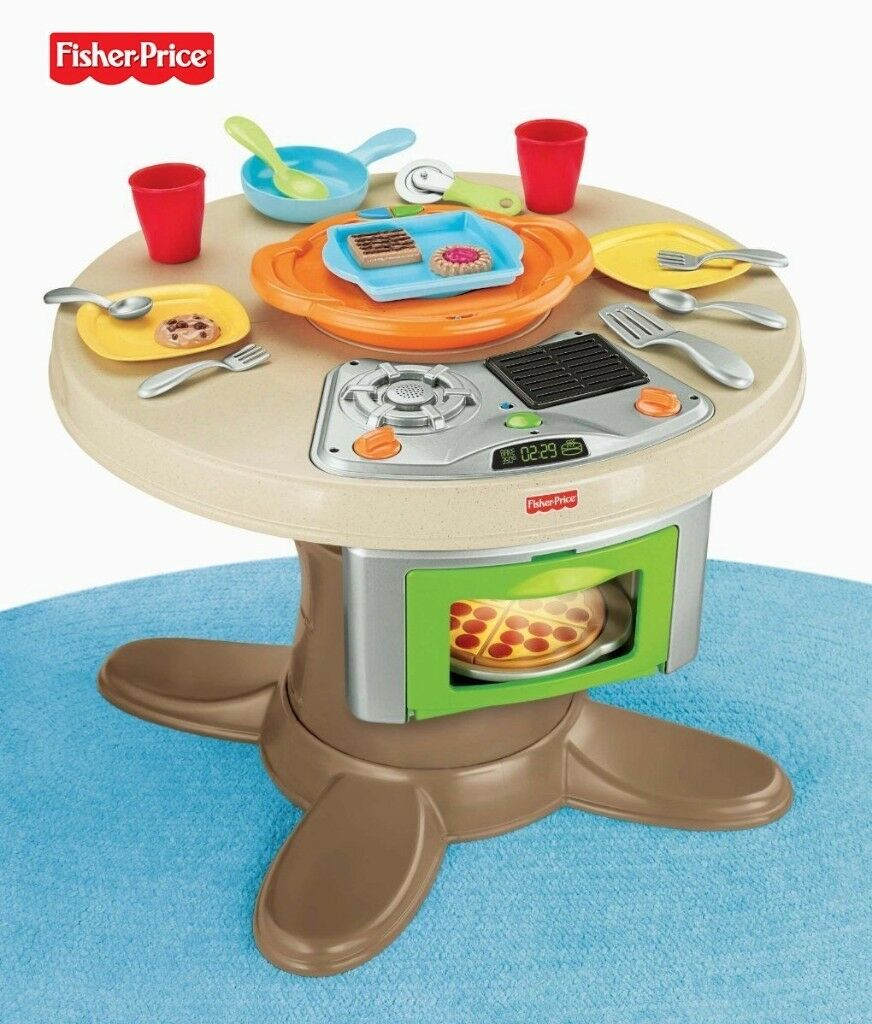 Fisher Price Servin Surprises 2in1 Toy Kitchen Cooker Hob /& Table Childrens Role Play Kids Pretend Playset New