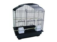 Large black bird cage 6 weeks old, cost new £37 suitable for canaries budgies or alike.