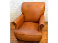 Tan leather club armchair tub vintage chairs antique seating lounge chesterfield french