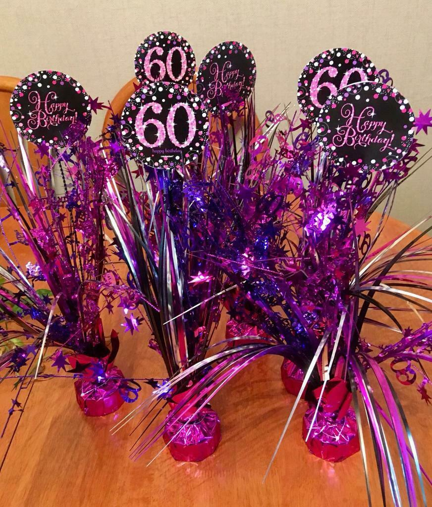 60th Birthday Party Decorations Table Centre Pieces Bunting