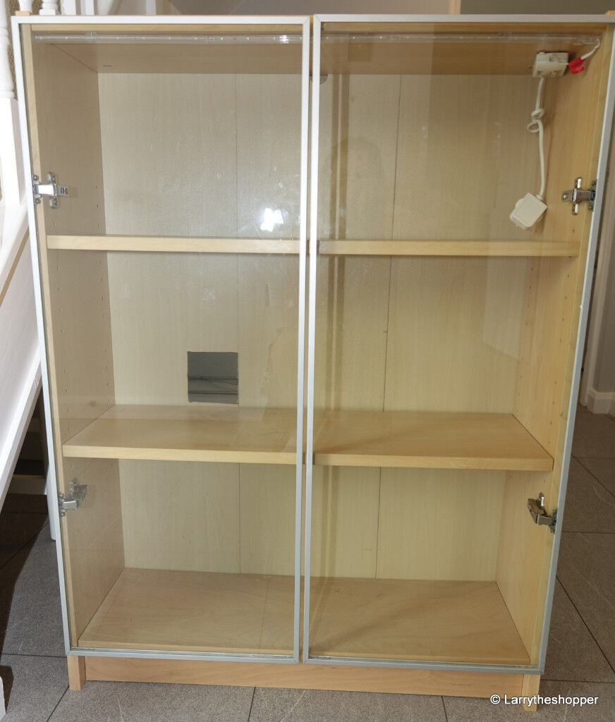 Ikea Billy Beech Bookcase 3 Shelves 2 Glass Doors Led Lights In Crowthorne Berkshire Gumtree