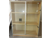 IKEA Billy Beech Bookcase 3 Shelves, 2 Glass Doors & LED Lights