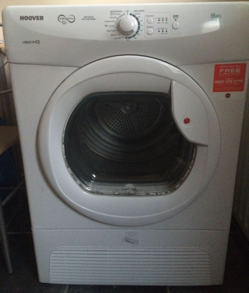 hoover vhc68b 80 39 vision hd 39 condenser tumble dryer in white with a large 8kg capacity in. Black Bedroom Furniture Sets. Home Design Ideas
